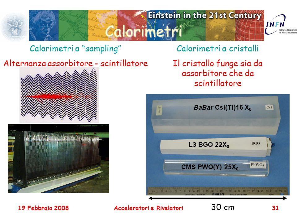 """19 Febbraio 2008Acceleratori e Rivelatori31 Calorimetri Calorimetri a """"sampling"""" Alternanza assorbitore - scintillatore Calorimetri a cristalli Il cri"""