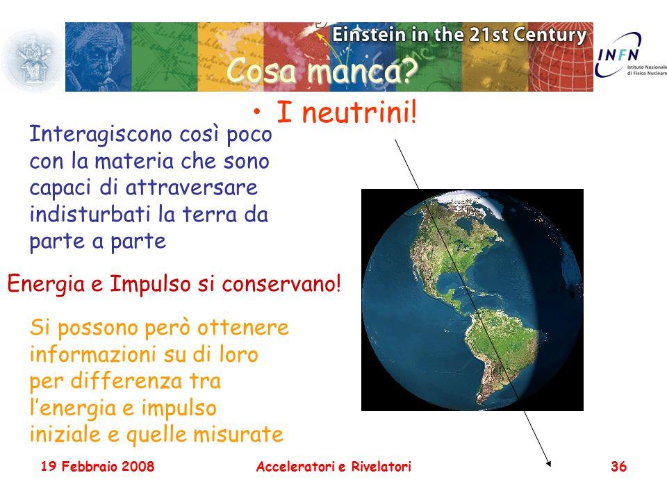 19 Febbraio 2008Acceleratori e Rivelatori36 Cosa manca? I neutrini! Interagiscono così poco con la materia che sono capaci di attraversare indisturbat