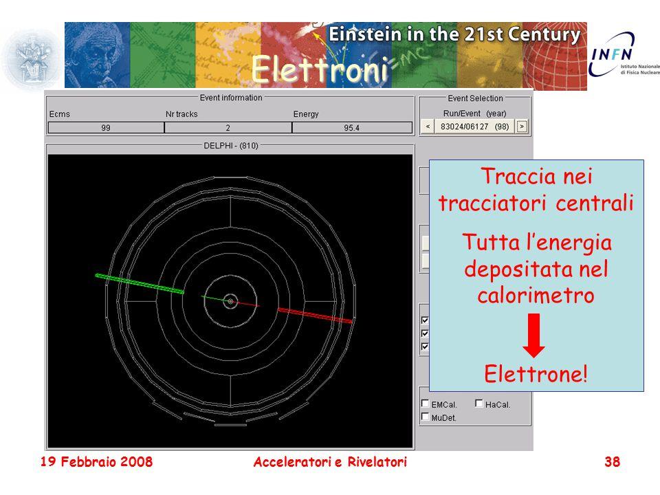 19 Febbraio 2008Acceleratori e Rivelatori38 Elettroni Traccia nei tracciatori centrali Tutta l'energia depositata nel calorimetro Elettrone!