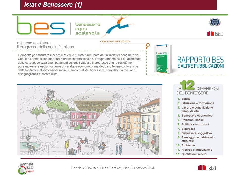 Bes delle Province, Linda Porciani, Pisa, 23 ottobre 2014 Istat e Benessere [1]