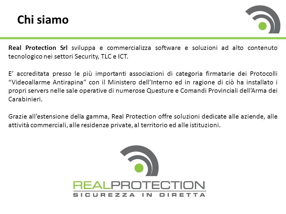 Chi siamo Real Protection Srl sviluppa e commercializza software e soluzioni ad alto contenuto tecnologico nei settori Security, TLC e ICT. E' accredi