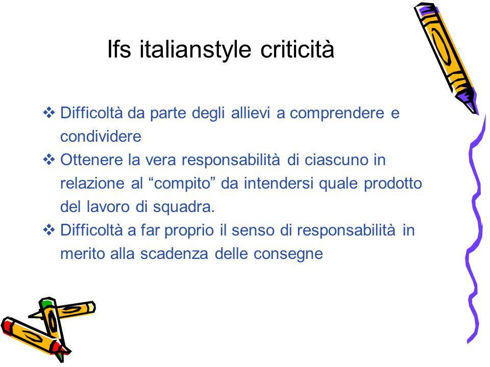 Ifs italianstyle criticità  Difficoltà da parte degli allievi a comprendere e condividere  Ottenere la vera responsabilità di ciascuno in relazione al compito da intendersi quale prodotto del lavoro di squadra.