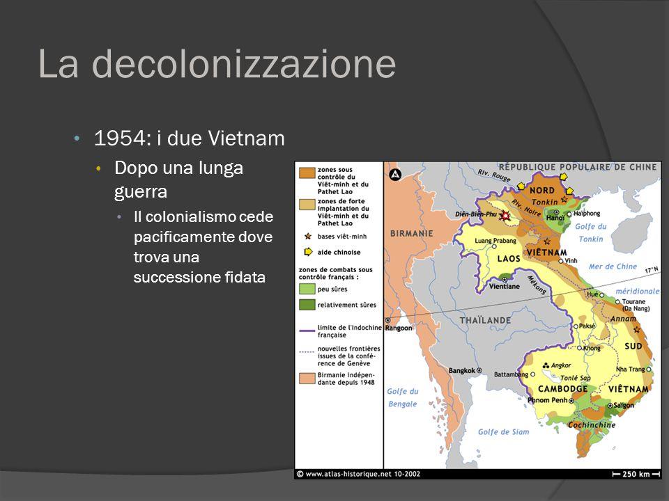 La decolonizzazione 1954: i due Vietnam Dopo una lunga guerra Il colonialismo cede pacificamente dove trova una successione fidata