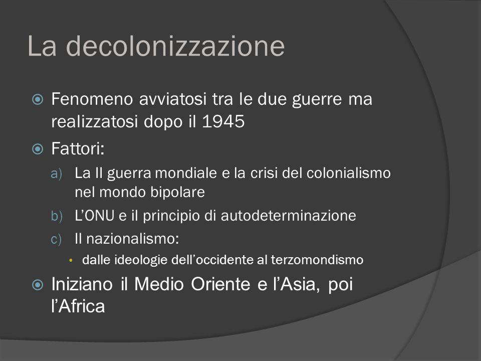 La decolonizzazione  Fenomeno avviatosi tra le due guerre ma realizzatosi dopo il 1945  Fattori: a) La II guerra mondiale e la crisi del colonialism