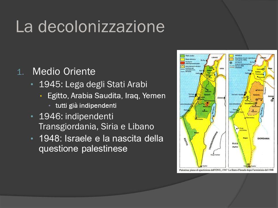 La decolonizzazione 1. Medio Oriente 1945: Lega degli Stati Arabi Egitto, Arabia Saudita, Iraq, Yemen tutti già indipendenti 1946: indipendenti Transg