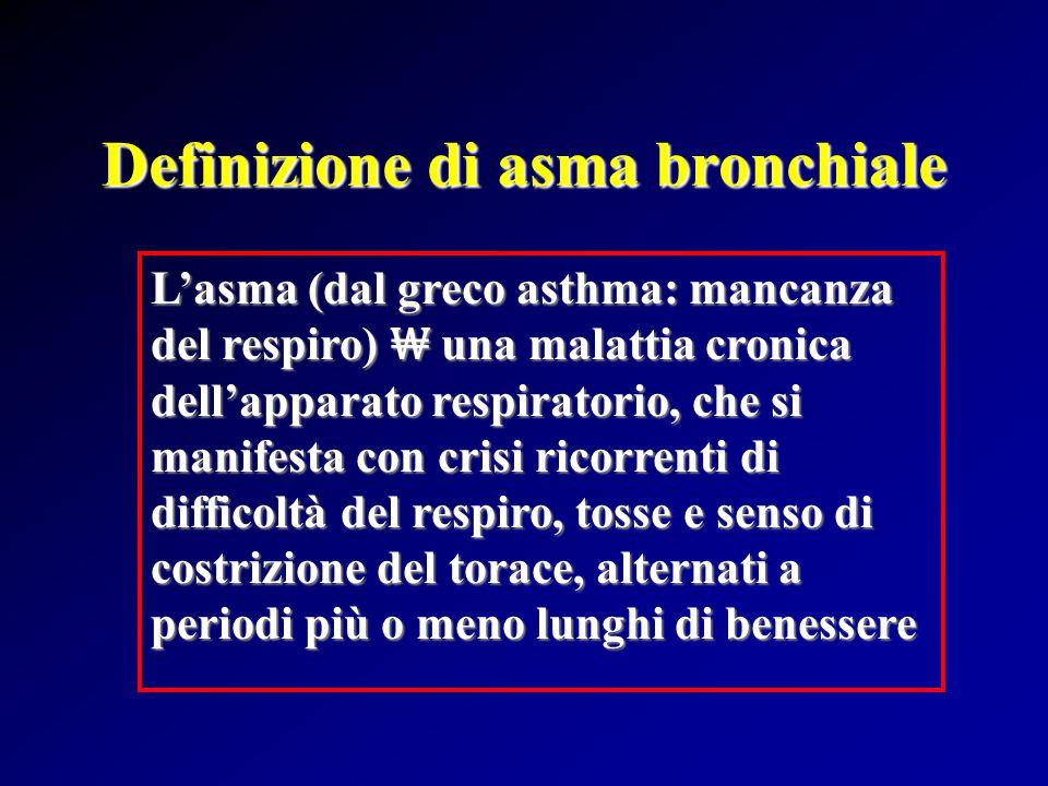 Definizione di asma bronchiale L'asma (dal greco asthma: mancanza del respiro) ₩ una malattia cronica dell'apparato respiratorio, che si manifesta con crisi ricorrenti di difficoltà del respiro, tosse e senso di costrizione del torace, alternati a periodi più o meno lunghi di benessere