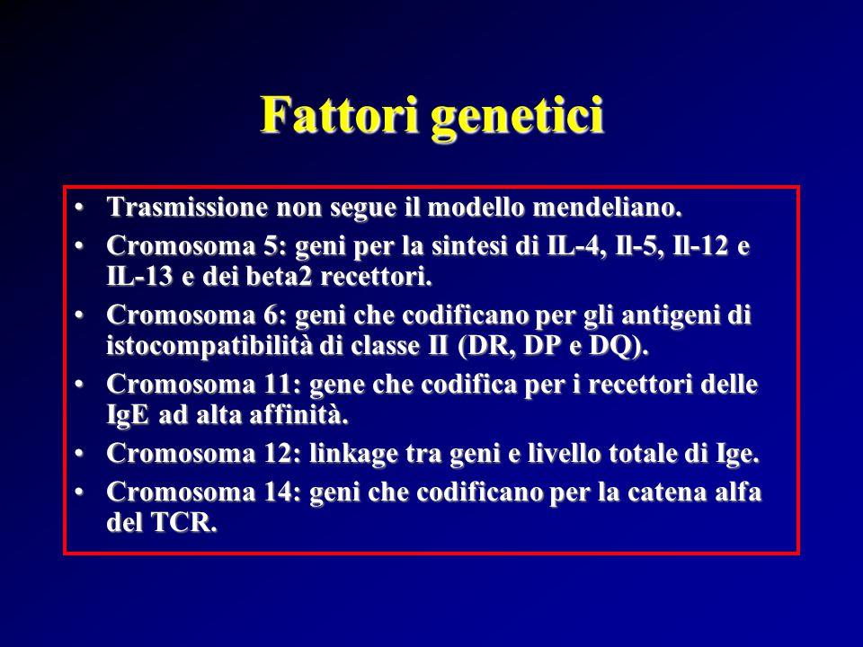 Fattori genetici Trasmissione non segue il modello mendeliano.Trasmissione non segue il modello mendeliano.