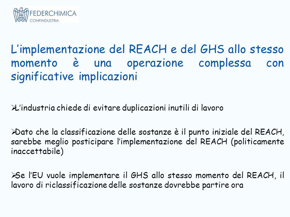 L'implementazione del REACH e del GHS allo stesso momento è una operazione complessa con significative implicazioni  L'industria chiede di evitare duplicazioni inutili di lavoro  Dato che la classificazione delle sostanze è il punto iniziale del REACH, sarebbe meglio posticipare l'implementazione del REACH (politicamente inaccettabile)  Se l'EU vuole implementare il GHS allo stesso momento del REACH, il lavoro di riclassificazione delle sostanze dovrebbe partire ora