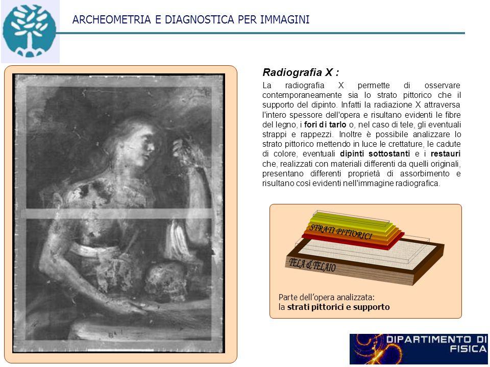 ARCHEOMETRIA E DIAGNOSTICA PER IMMAGINI Radiografia X : La radiografia X permette di osservare contemporaneamente sia lo strato pittorico che il supporto del dipinto.