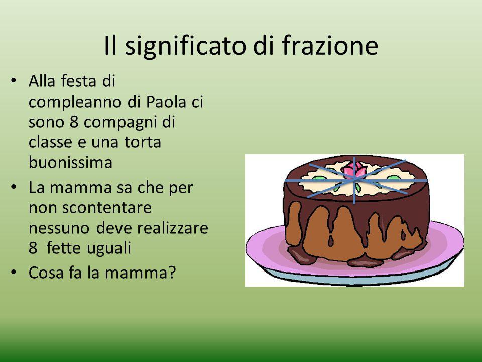 Il significato di frazione Alla festa di compleanno di Paola ci sono 8 compagni di classe e una torta buonissima La mamma sa che per non scontentare n
