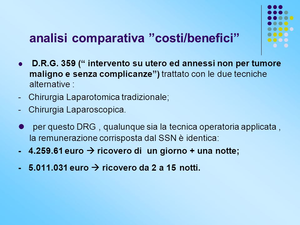 analisi comparativa costi/benefici D.R.G.