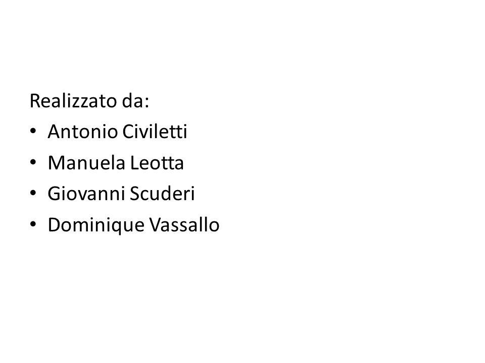 Realizzato da: Antonio Civiletti Manuela Leotta Giovanni Scuderi Dominique Vassallo