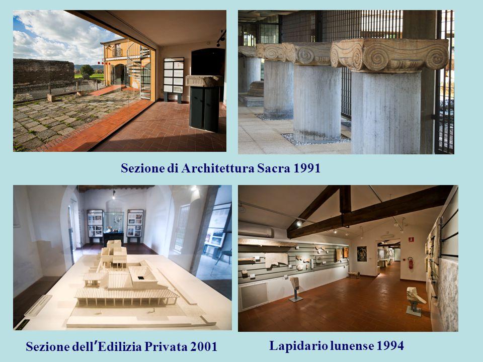 Sezione di Architettura Sacra 1991 Sezione dell ' Edilizia Privata 2001 Lapidario lunense 1994