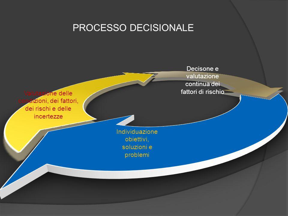 Individuazione obiettivi, soluzioni e problemi Valutazione delle condizioni, dei fattori, dei rischi e delle incertezze Decisone e valutazione continu