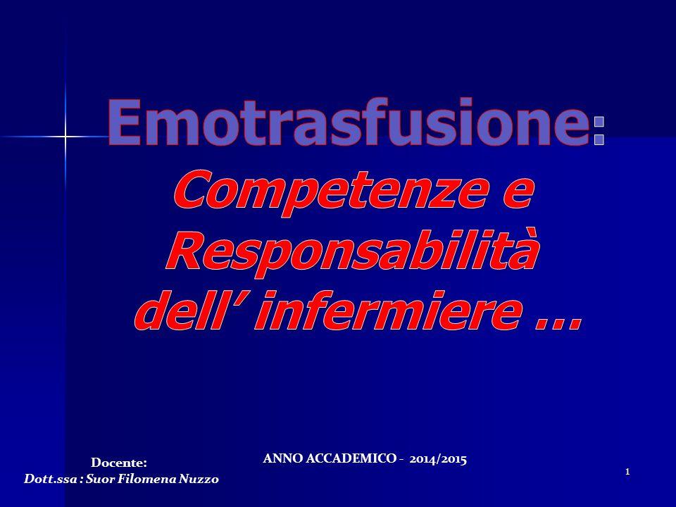1 Docente: Dott.ssa : Suor Filomena Nuzzo ANNO ACCADEMICO - 2014/2015