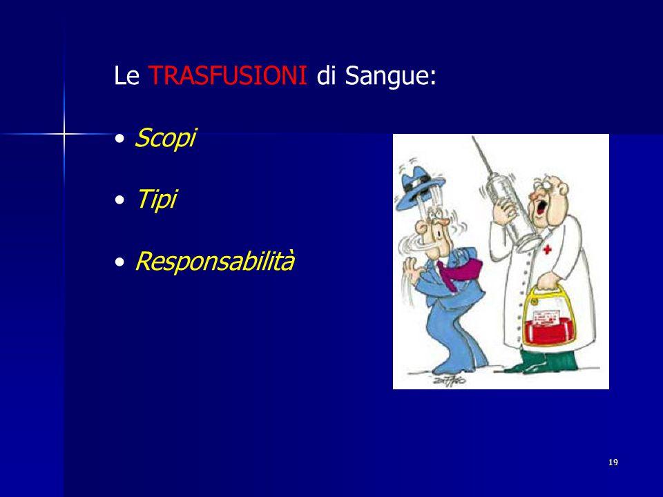 19 Le TRASFUSIONI di Sangue: Scopi Tipi Responsabilità
