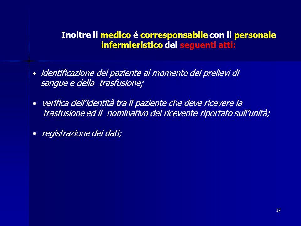 37 Inoltre il medico é corresponsabile con il personale infermieristico dei seguenti atti: identificazione del paziente al momento dei prelievi di san