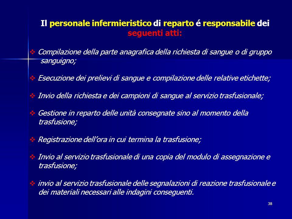 38 Il personale infermieristico di reparto é responsabile dei seguenti atti:  Compilazione della parte anagrafica della richiesta di sangue o di grup