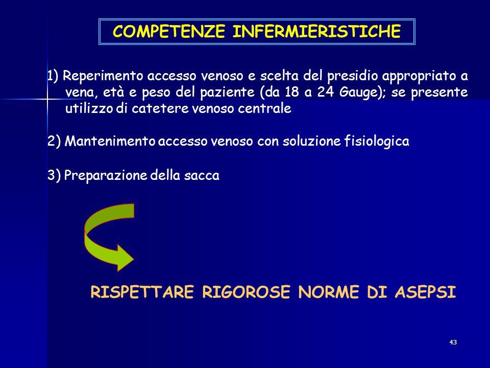 43 COMPETENZE INFERMIERISTICHE 1) Reperimento accesso venoso e scelta del presidio appropriato a vena, età e peso del paziente (da 18 a 24 Gauge); se