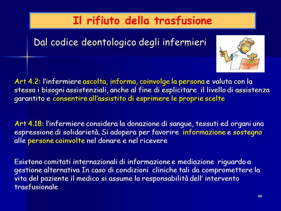 49 Il rifiuto della trasfusione Dal codice deontologico degli infermieri Dal codice deontologico degli infermieri Art 4.2: l'infermiere ascolta, infor