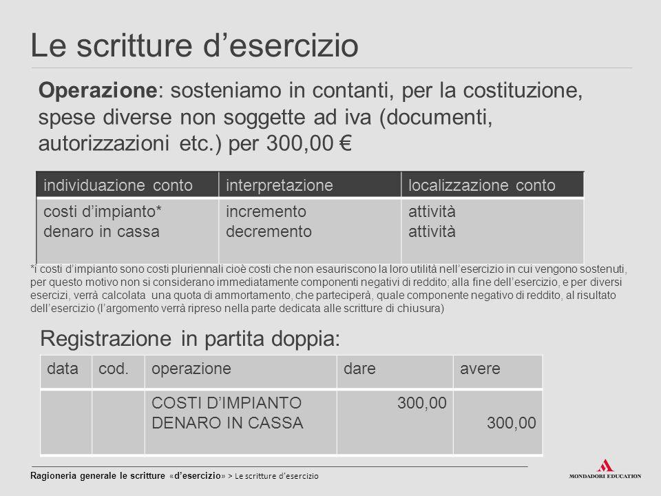 Le scritture d'esercizio Operazione: sosteniamo in contanti, per la costituzione, spese diverse non soggette ad iva (documenti, autorizzazioni etc.) p