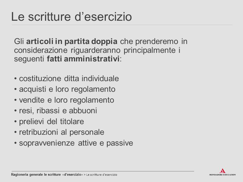 Le scritture d'esercizio Gli articoli in partita doppia che prenderemo in considerazione riguarderanno principalmente i seguenti fatti amministrativi: