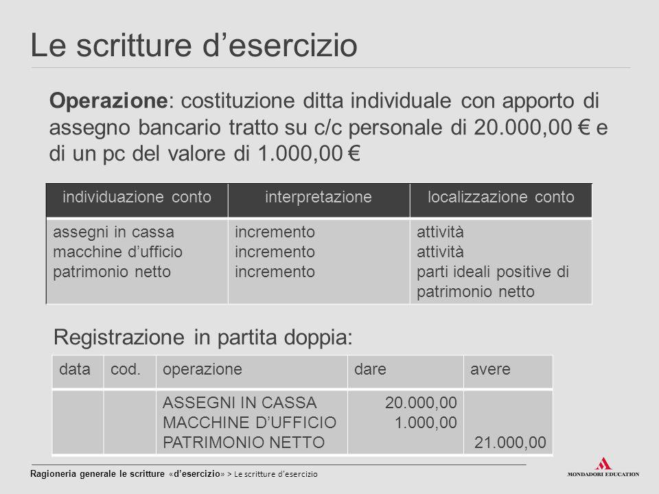 Le scritture d'esercizio Operazione: costituzione ditta individuale con apporto di assegno bancario tratto su c/c personale di 20.000,00 € e di un pc