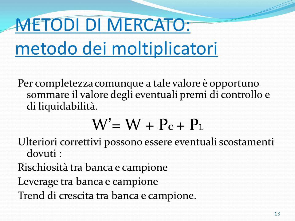 METODI DI MERCATO: metodo dei moltiplicatori Per completezza comunque a tale valore è opportuno sommare il valore degli eventuali premi di controllo e di liquidabilità.