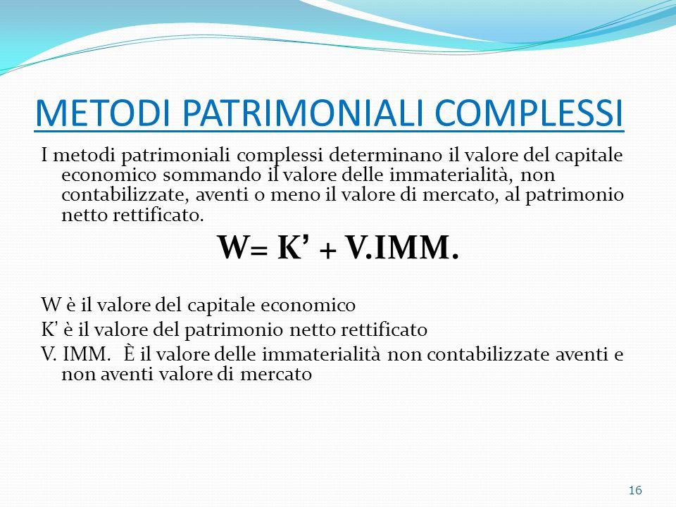 METODI PATRIMONIALI COMPLESSI I metodi patrimoniali complessi determinano il valore del capitale economico sommando il valore delle immaterialità, non contabilizzate, aventi o meno il valore di mercato, al patrimonio netto rettificato.