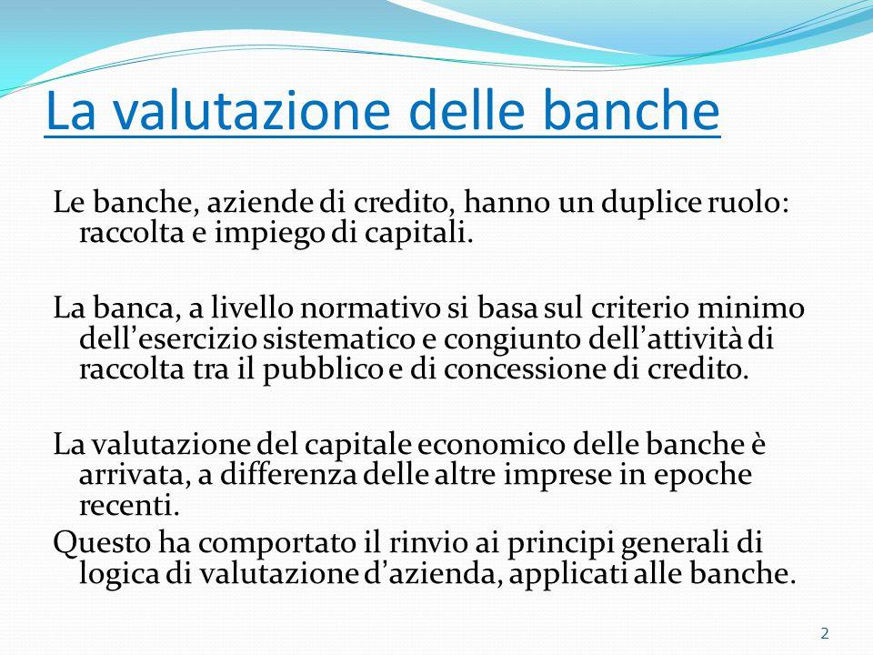 La valutazione delle banche Le banche, aziende di credito, hanno un duplice ruolo: raccolta e impiego di capitali.