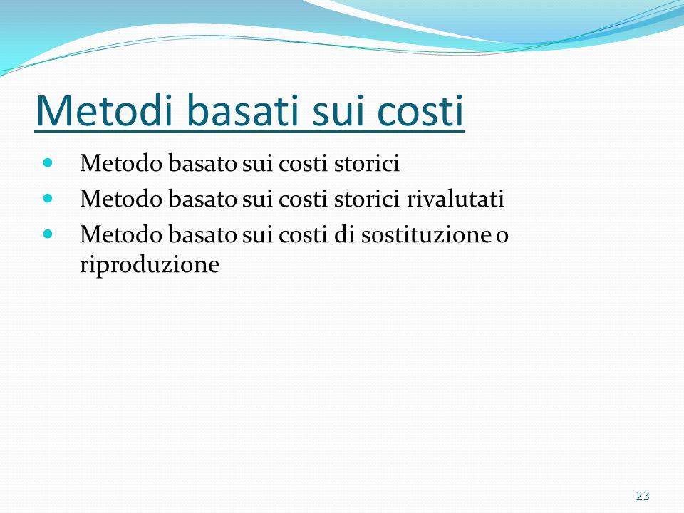 Metodi basati sui costi Metodo basato sui costi storici Metodo basato sui costi storici rivalutati Metodo basato sui costi di sostituzione o riproduzione 23