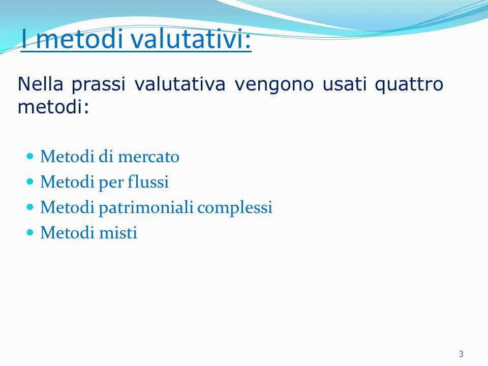 I metodi valutativi: Metodi di mercato Metodi per flussi Metodi patrimoniali complessi Metodi misti Nella prassi valutativa vengono usati quattro metodi: 3