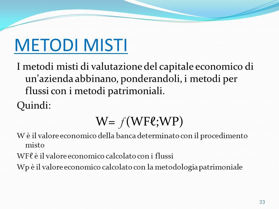 METODI MISTI I metodi misti di valutazione del capitale economico di un'azienda abbinano, ponderandoli, i metodi per flussi con i metodi patrimoniali.