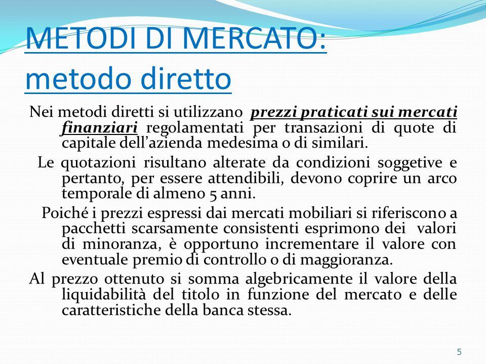METODI DI MERCATO: metodo diretto Nei metodi diretti si utilizzano prezzi praticati sui mercati finanziari regolamentati per transazioni di quote di capitale dell'azienda medesima o di similari.