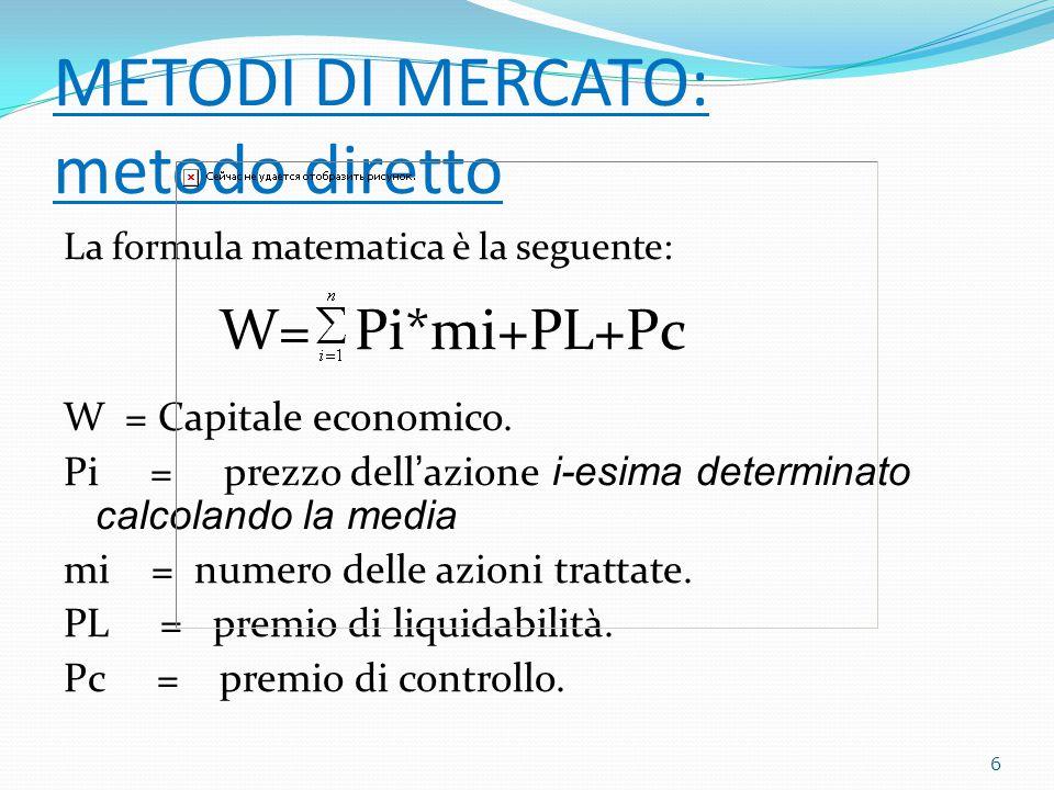 METODI DI MERCATO: metodo diretto La formula matematica è la seguente: W= Pi*mi+PL+Pc W = Capitale economico.