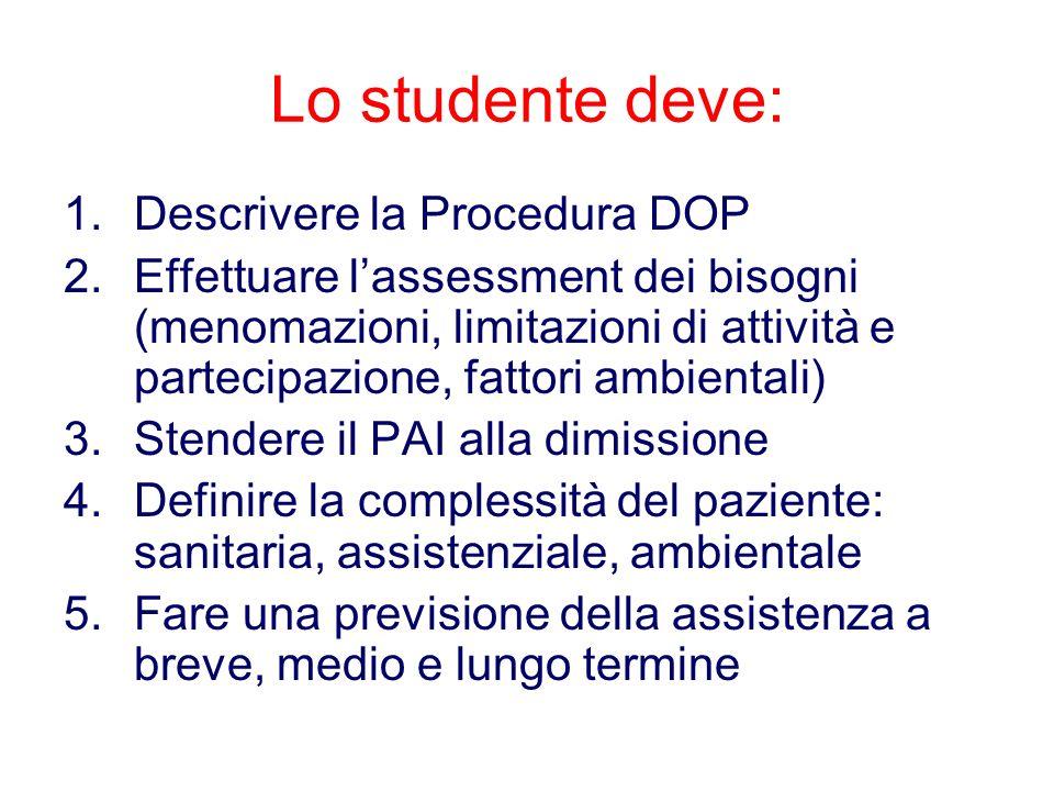 Lo studente deve: 1.Descrivere la Procedura DOP 2.Effettuare l'assessment dei bisogni (menomazioni, limitazioni di attività e partecipazione, fattori