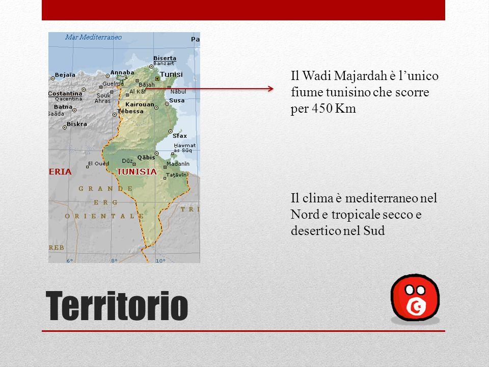 Territorio Il Wadi Majardah è l'unico fiume tunisino che scorre per 450 Km Il clima è mediterraneo nel Nord e tropicale secco e desertico nel Sud