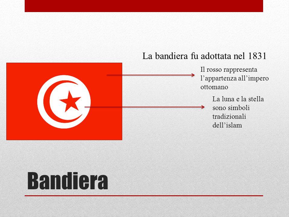 Bandiera La bandiera fu adottata nel 1831 Il rosso rappresenta l'appartenza all'impero ottomano La luna e la stella sono simboli tradizionali dell'isl