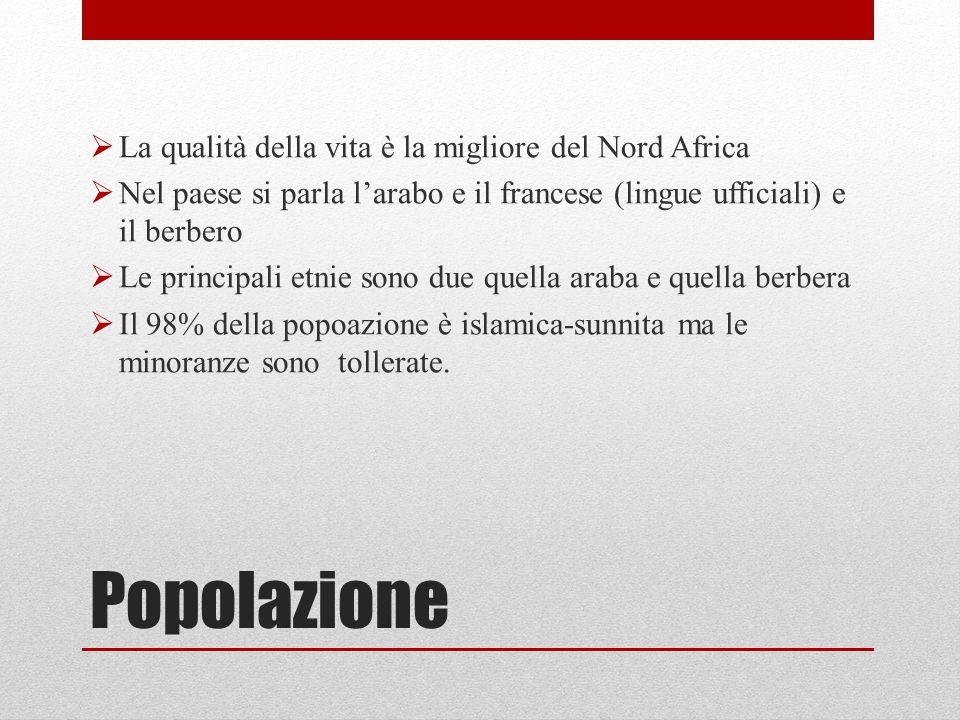 Popolazione  La qualità della vita è la migliore del Nord Africa  Nel paese si parla l'arabo e il francese (lingue ufficiali) e il berbero  Le prin