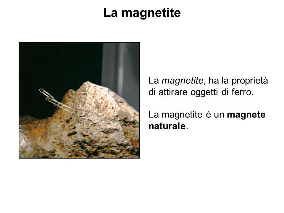 La magnetite La magnetite, ha la proprietà di attirare oggetti di ferro. La magnetite è un magnete naturale.