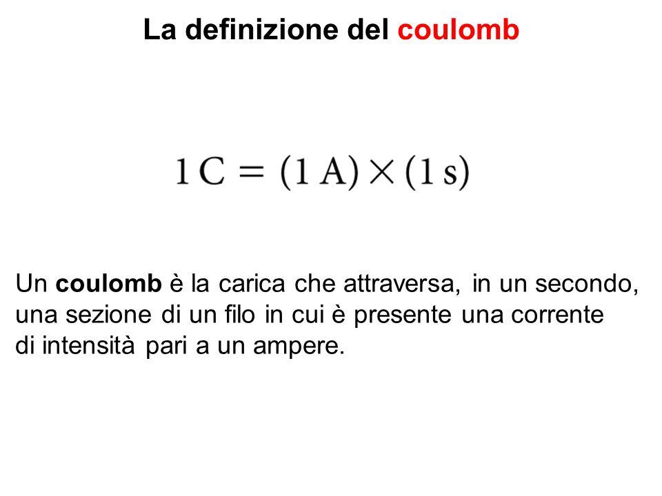 La definizione del coulomb Un coulomb è la carica che attraversa, in un secondo, una sezione di un filo in cui è presente una corrente di intensità pa