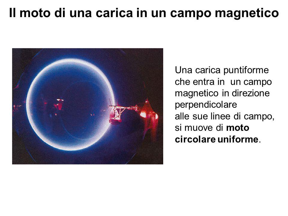 Il moto di una carica in un campo magnetico Una carica puntiforme che entra in un campo magnetico in direzione perpendicolare alle sue linee di campo,