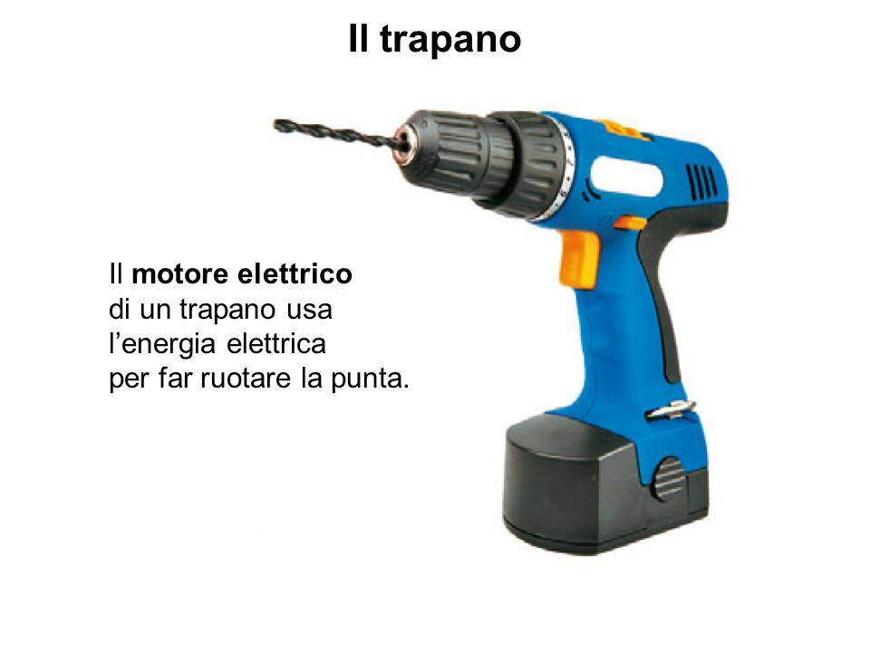 Il trapano Il motore elettrico di un trapano usa l'energia elettrica per far ruotare la punta.