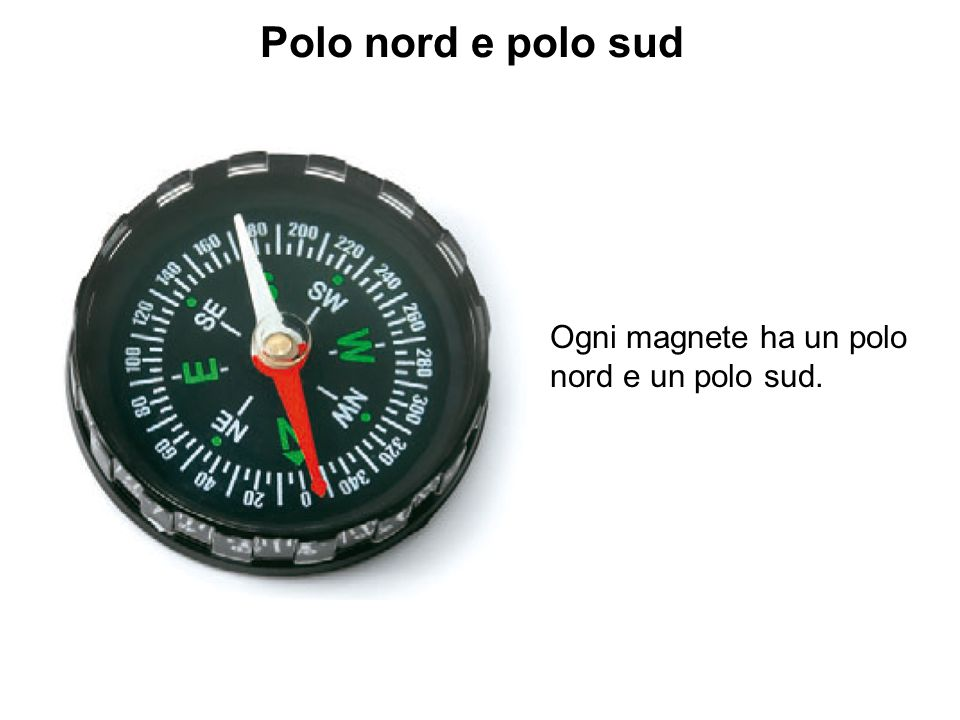 Polo nord e polo sud Ogni magnete ha un polo nord e un polo sud.