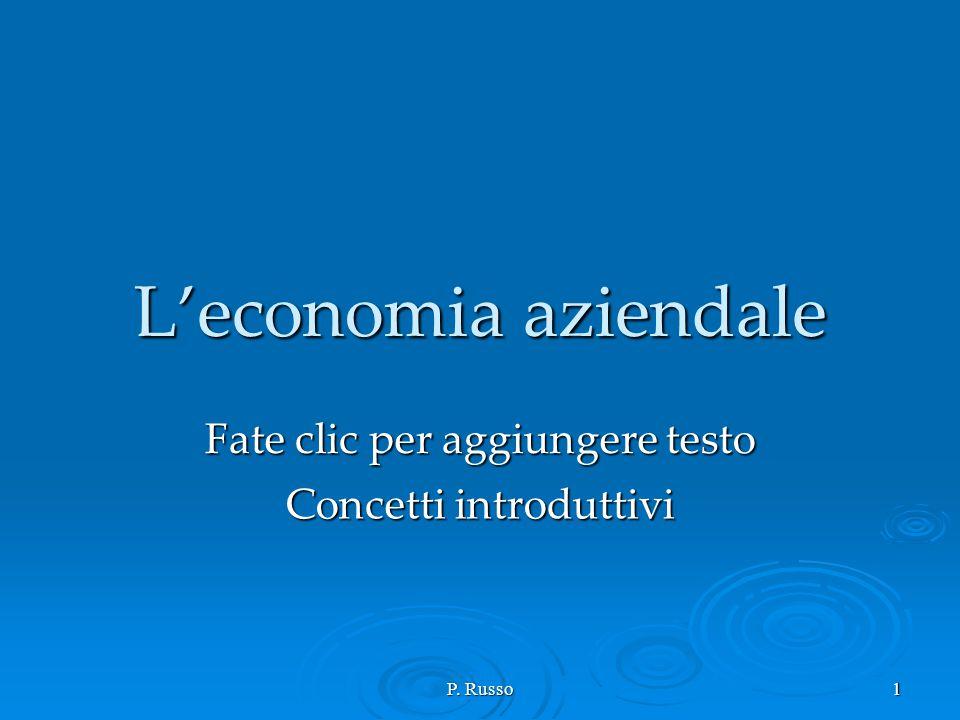 Fate clic per aggiungere testo P. Russo1 L'economia aziendale Concetti introduttivi