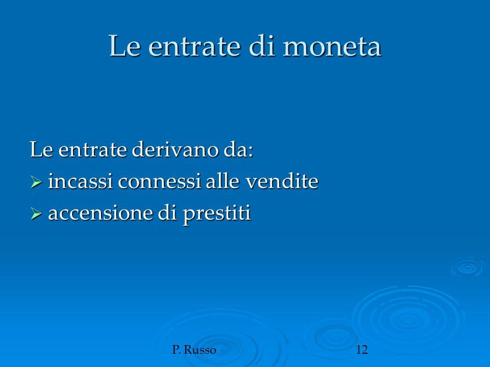 P. Russo12 Le entrate di moneta Le entrate derivano da:  incassi connessi alle vendite  accensione di prestiti