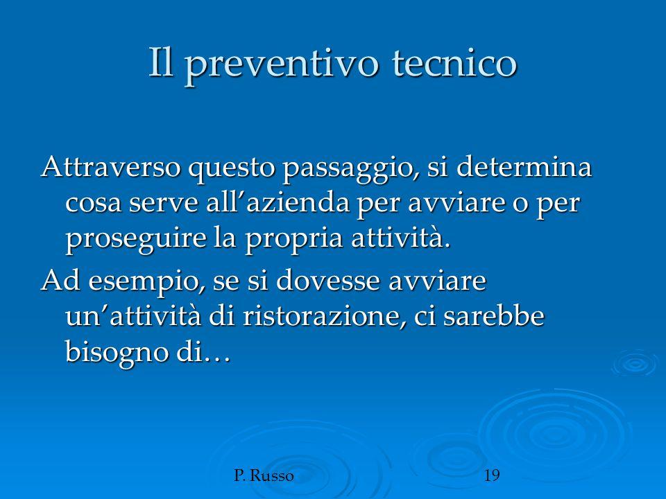 P. Russo19 Il preventivo tecnico Attraverso questo passaggio, si determina cosa serve all'azienda per avviare o per proseguire la propria attività. Ad