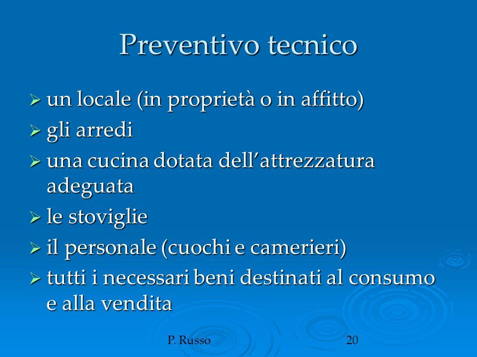 P. Russo20 Preventivo tecnico  un locale (in proprietà o in affitto)  gli arredi  una cucina dotata dell'attrezzatura adeguata  le stoviglie  il