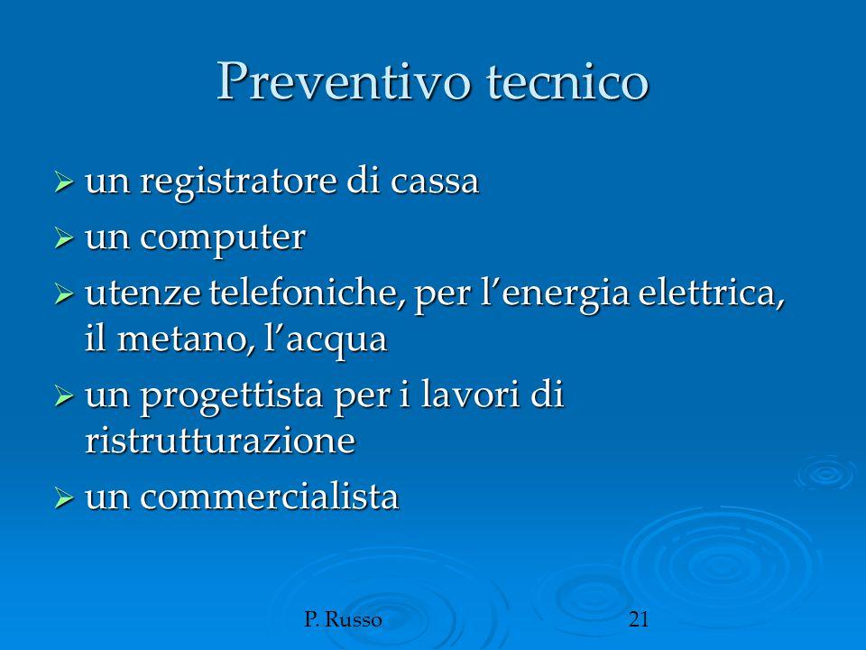 P. Russo21 Preventivo tecnico  un registratore di cassa  un computer  utenze telefoniche, per l'energia elettrica, il metano, l'acqua  un progetti