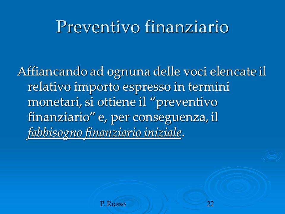 """P. Russo22 Preventivo finanziario Affiancando ad ognuna delle voci elencate il relativo importo espresso in termini monetari, si ottiene il """"preventiv"""